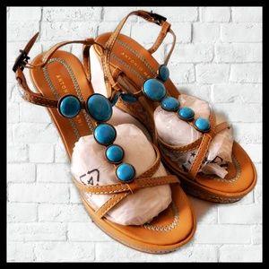 Antonio Melanie Wedge Sandals Tan/Teal 7.5